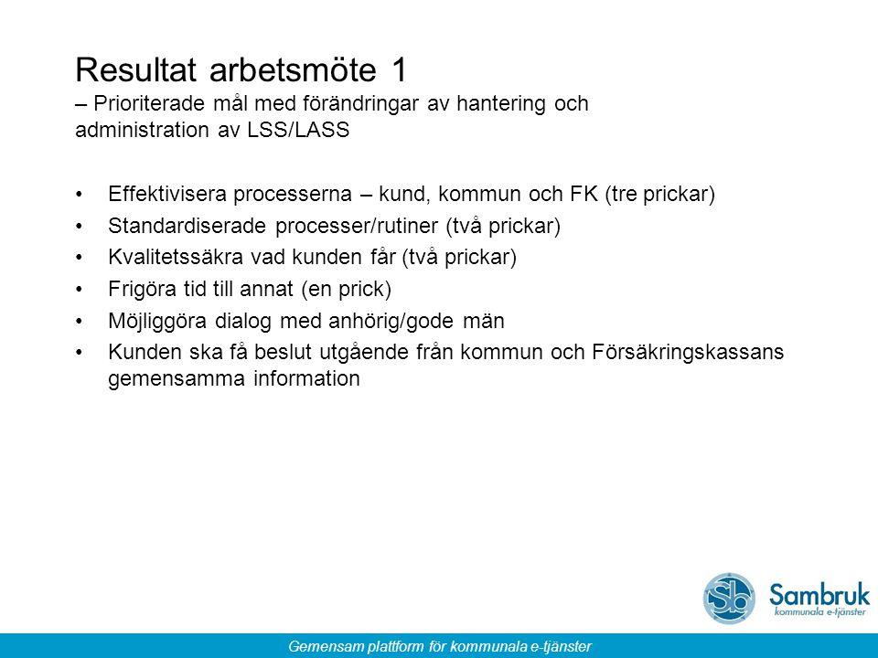 Resultat arbetsmöte 1 – Prioriterade mål med förändringar av hantering och administration av LSS/LASS