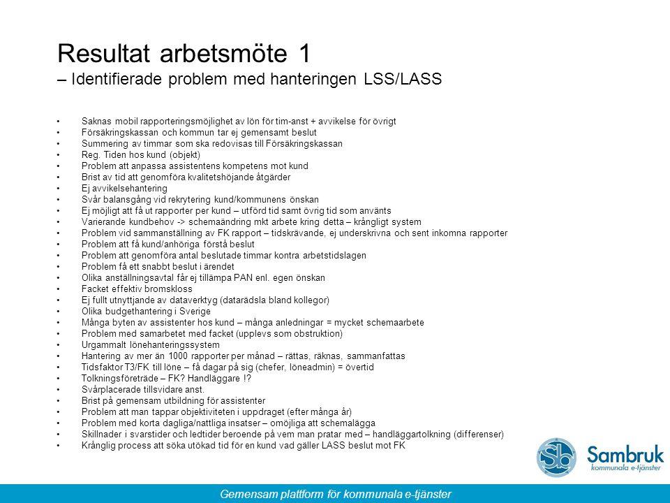 Resultat arbetsmöte 1 – Identifierade problem med hanteringen LSS/LASS