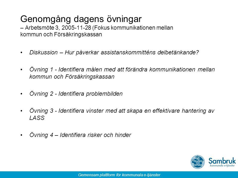 Genomgång dagens övningar – Arbetsmöte 3, 2005-11-28 (Fokus kommunikationen mellan kommun och Försäkringskassan