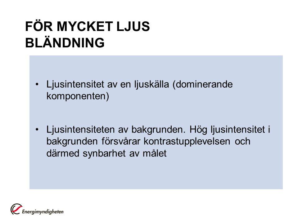 FÖR MYCKET LJUS BLÄNDNING
