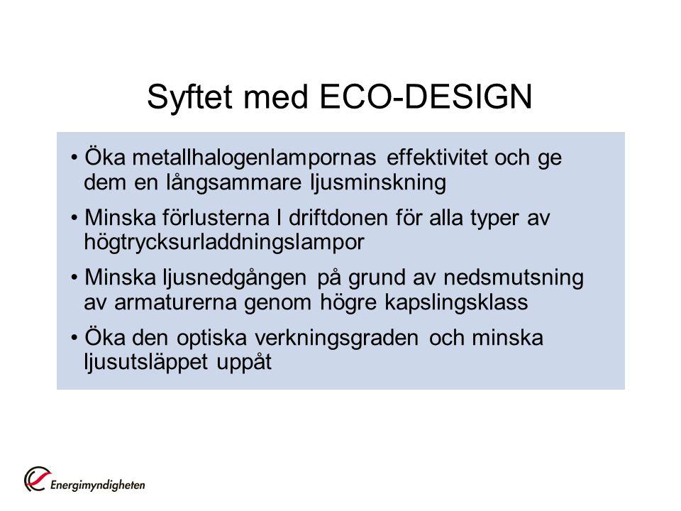 Syftet med ECO-DESIGN • Öka metallhalogenlampornas effektivitet och ge dem en långsammare ljusminskning.