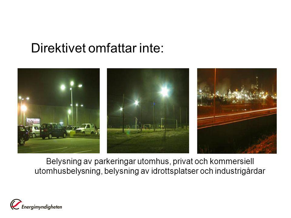 Direktivet omfattar inte: