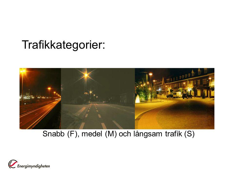 Snabb (F), medel (M) och långsam trafik (S)