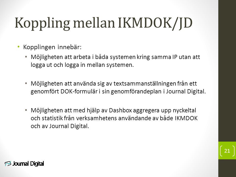 Koppling mellan IKMDOK/JD
