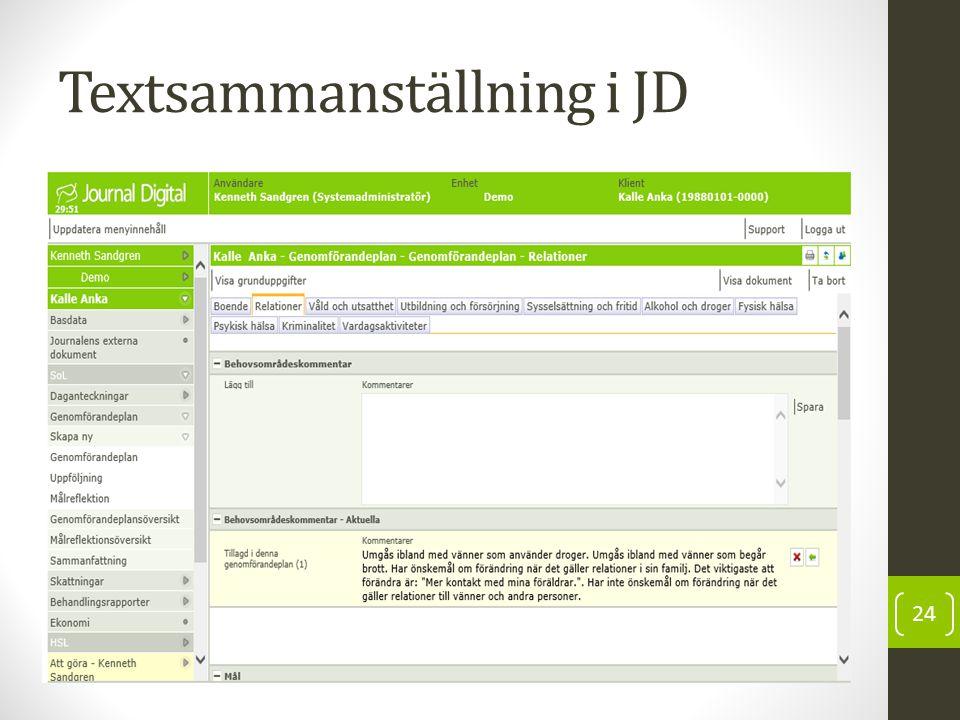Textsammanställning i JD