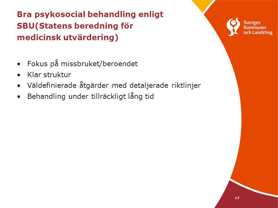 Bra psykosocial behandling enligt SBU(Statens beredning för medicinsk utvärdering)