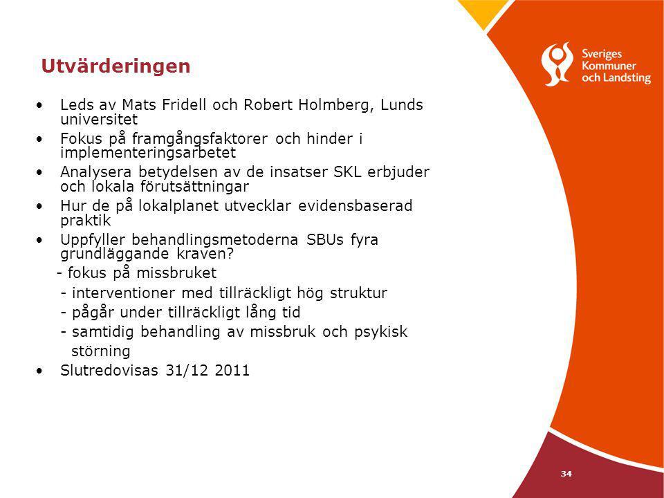 Utvärderingen Leds av Mats Fridell och Robert Holmberg, Lunds universitet. Fokus på framgångsfaktorer och hinder i implementeringsarbetet.