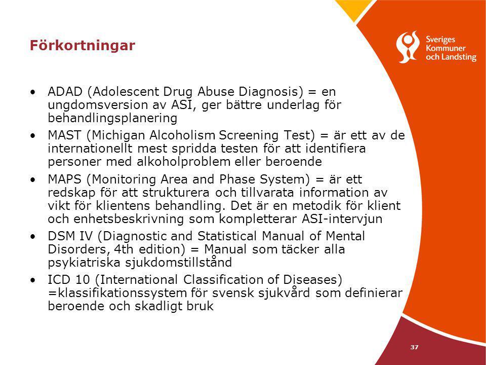 Förkortningar ADAD (Adolescent Drug Abuse Diagnosis) = en ungdomsversion av ASI, ger bättre underlag för behandlingsplanering.