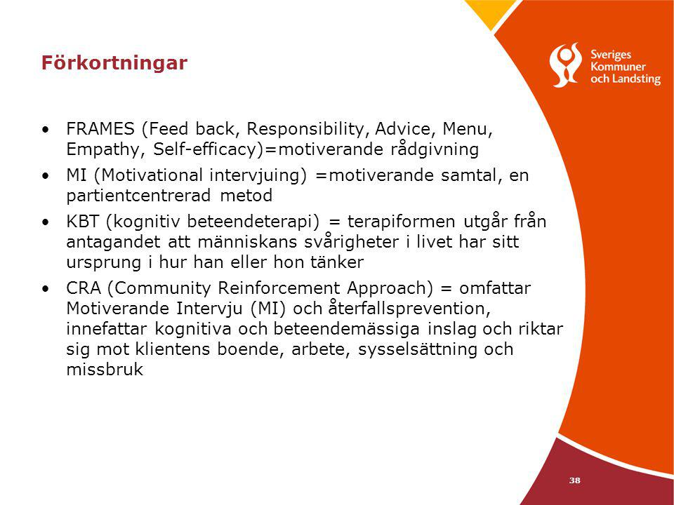 Förkortningar FRAMES (Feed back, Responsibility, Advice, Menu, Empathy, Self-efficacy)=motiverande rådgivning.