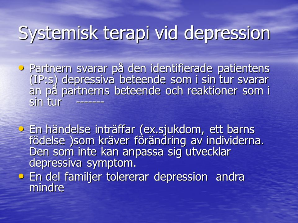 Systemisk terapi vid depression