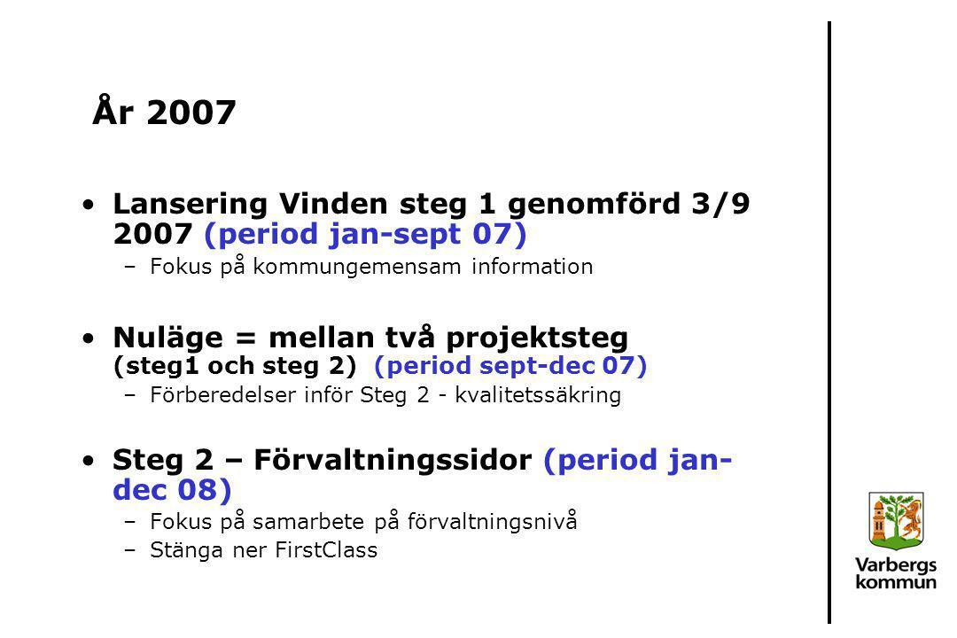 År 2007 Lansering Vinden steg 1 genomförd 3/9 2007 (period jan-sept 07) Fokus på kommungemensam information.