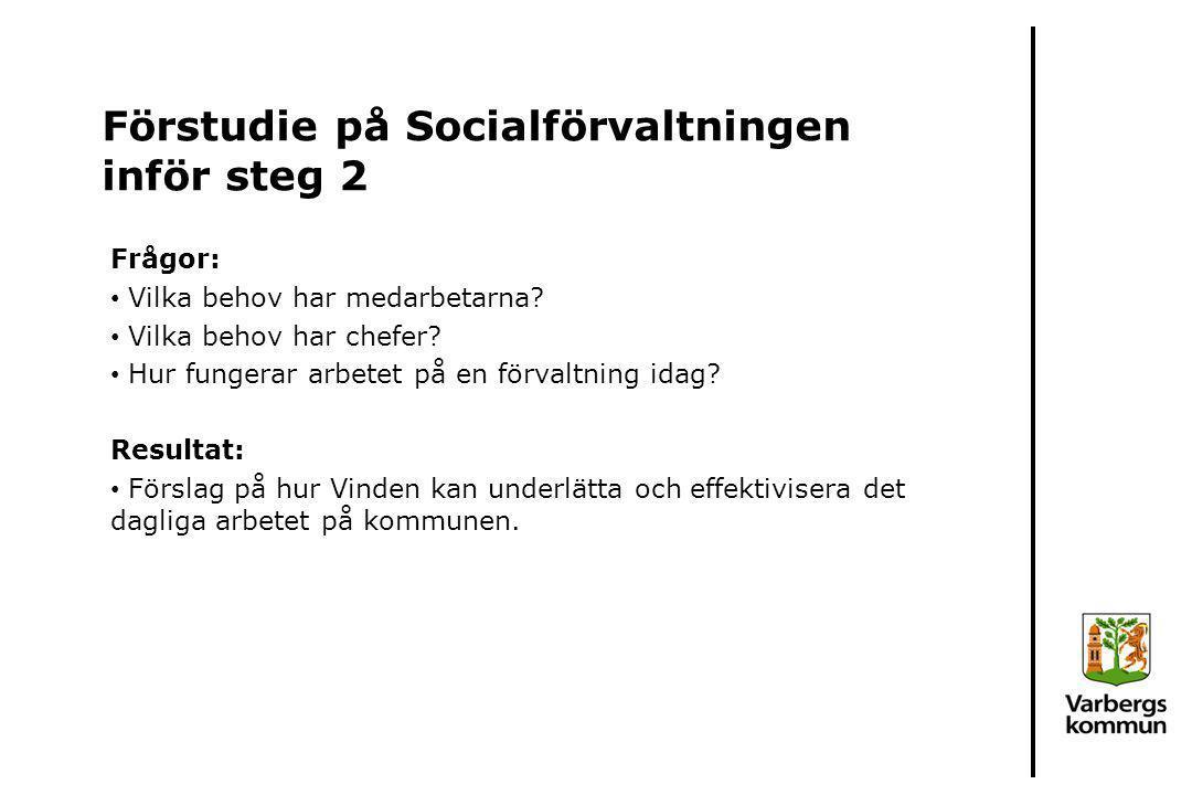 Förstudie på Socialförvaltningen inför steg 2
