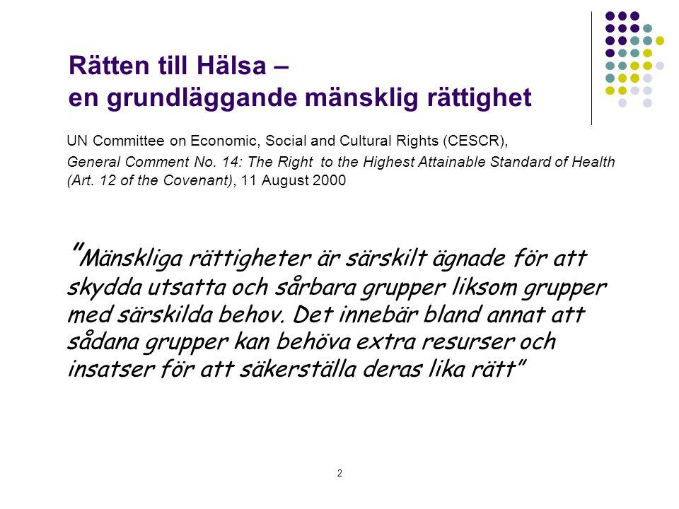 Rätten till Hälsa – en grundläggande mänsklig rättighet