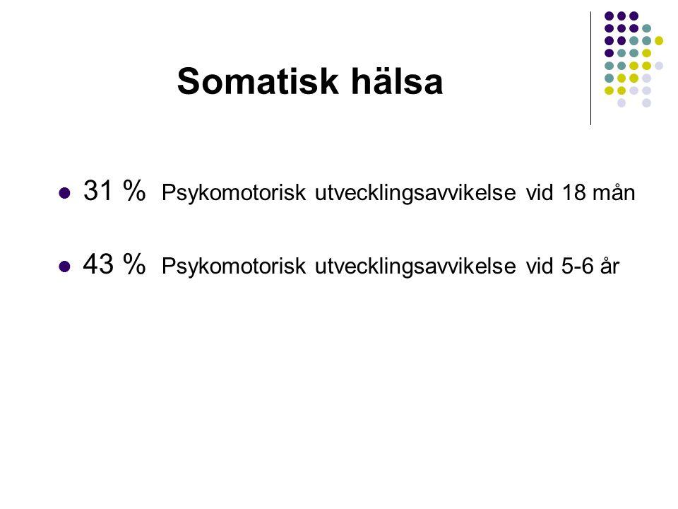 Somatisk hälsa 31 % Psykomotorisk utvecklingsavvikelse vid 18 mån