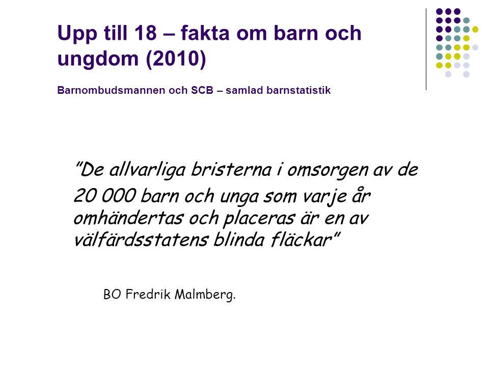 Upp till 18 – fakta om barn och ungdom (2010) Barnombudsmannen och SCB – samlad barnstatistik