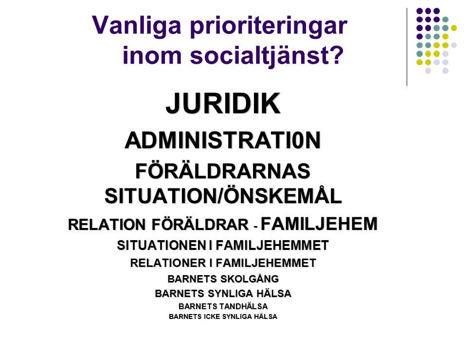 Vanliga prioriteringar inom socialtjänst