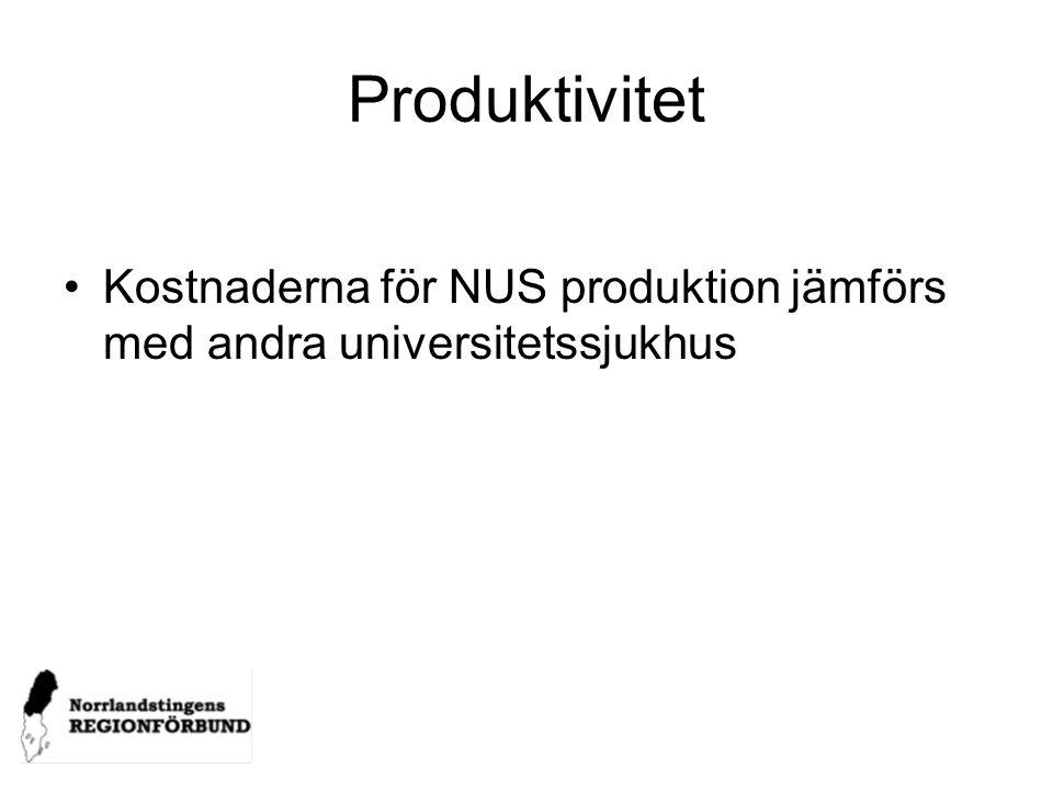 Produktivitet Kostnaderna för NUS produktion jämförs med andra universitetssjukhus