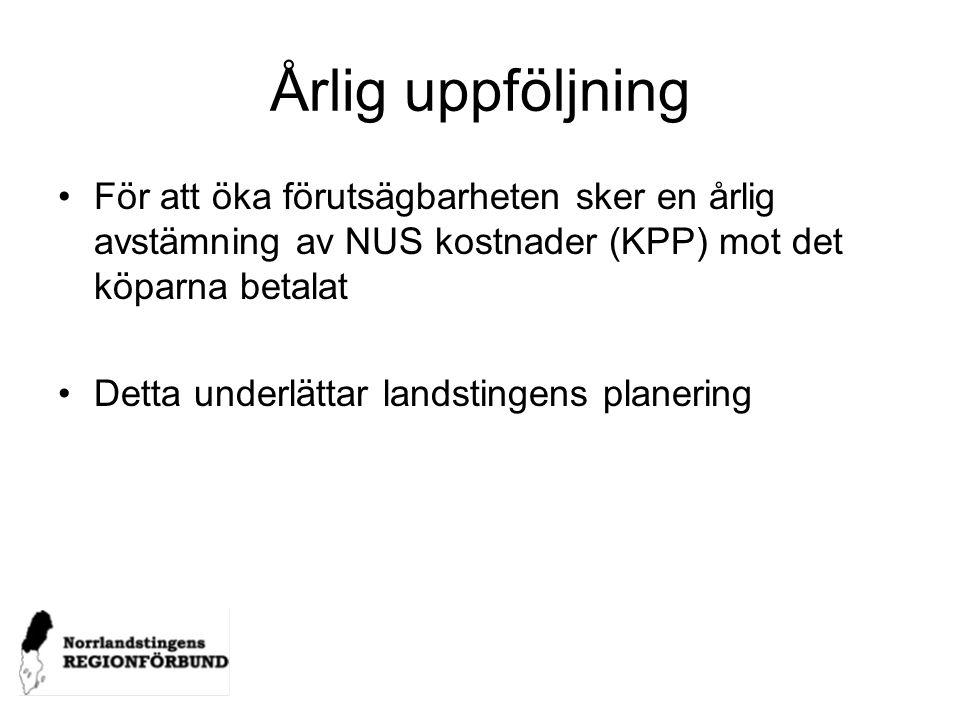 Årlig uppföljning För att öka förutsägbarheten sker en årlig avstämning av NUS kostnader (KPP) mot det köparna betalat.