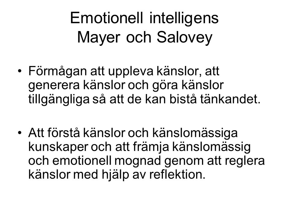 Emotionell intelligens Mayer och Salovey