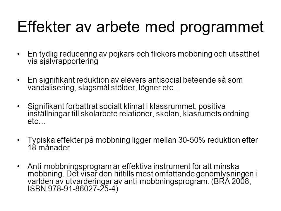 Effekter av arbete med programmet