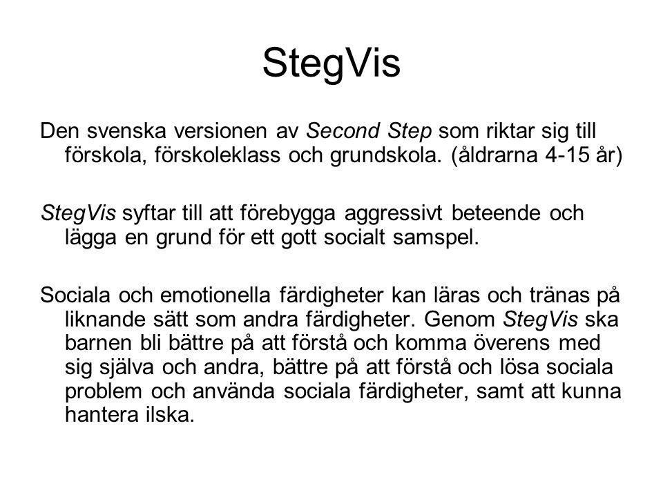 StegVis Den svenska versionen av Second Step som riktar sig till förskola, förskoleklass och grundskola. (åldrarna 4-15 år)