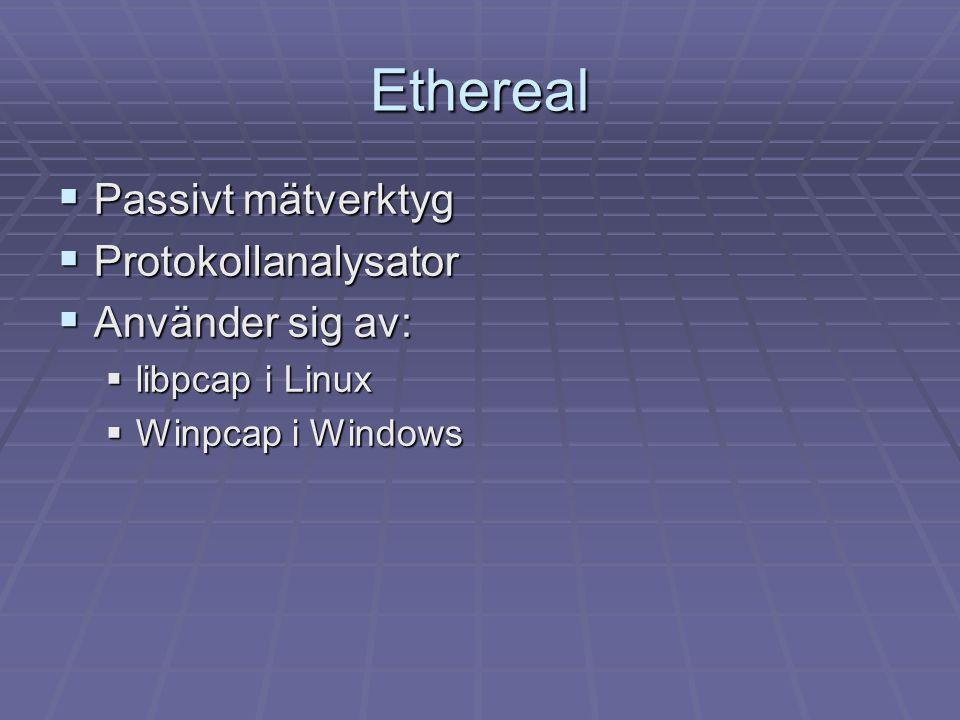 Ethereal Passivt mätverktyg Protokollanalysator Använder sig av: