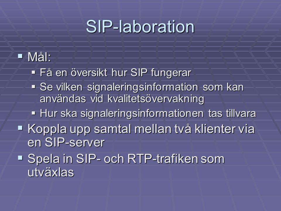 SIP-laboration Mål: Få en översikt hur SIP fungerar. Se vilken signaleringsinformation som kan användas vid kvalitetsövervakning.