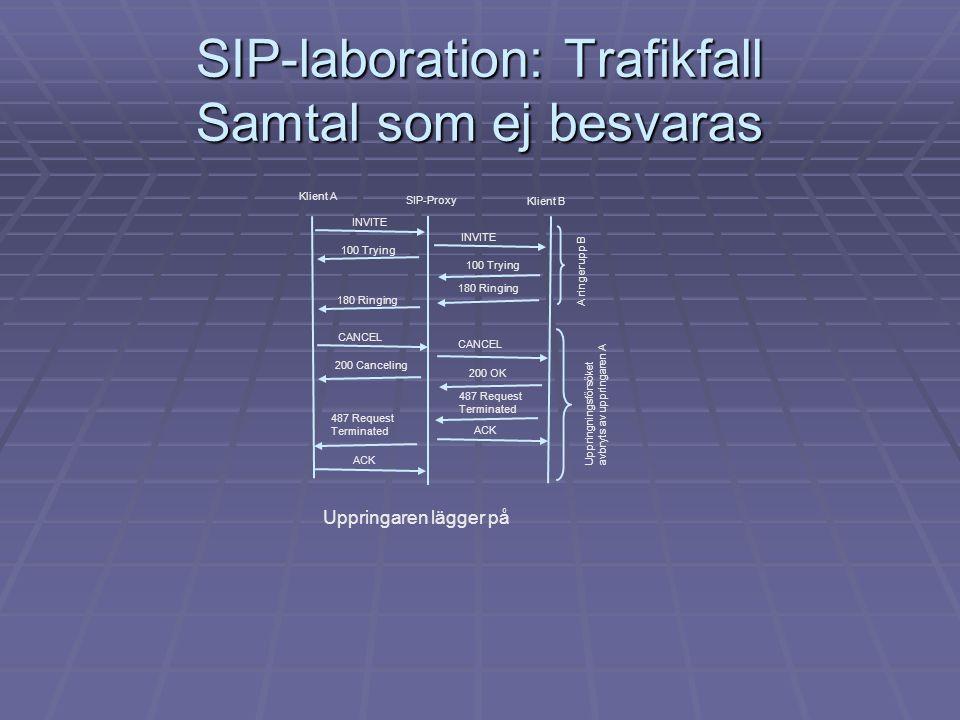 SIP-laboration: Trafikfall Samtal som ej besvaras
