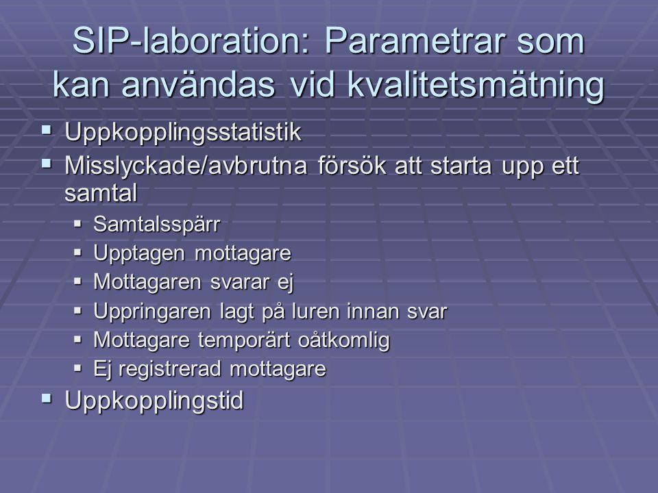 SIP-laboration: Parametrar som kan användas vid kvalitetsmätning