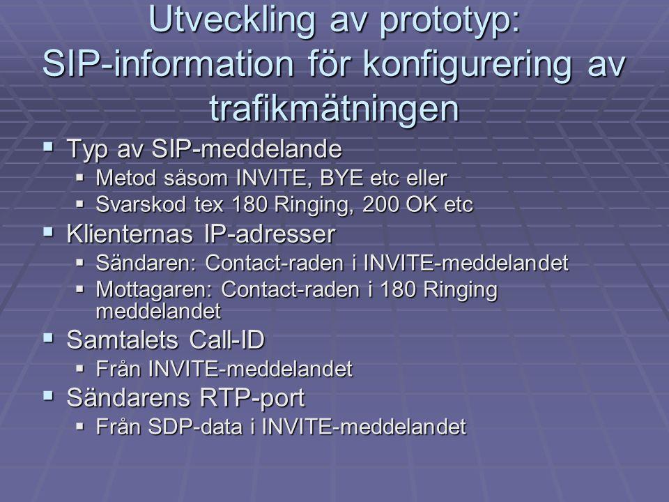 Utveckling av prototyp: SIP-information för konfigurering av trafikmätningen