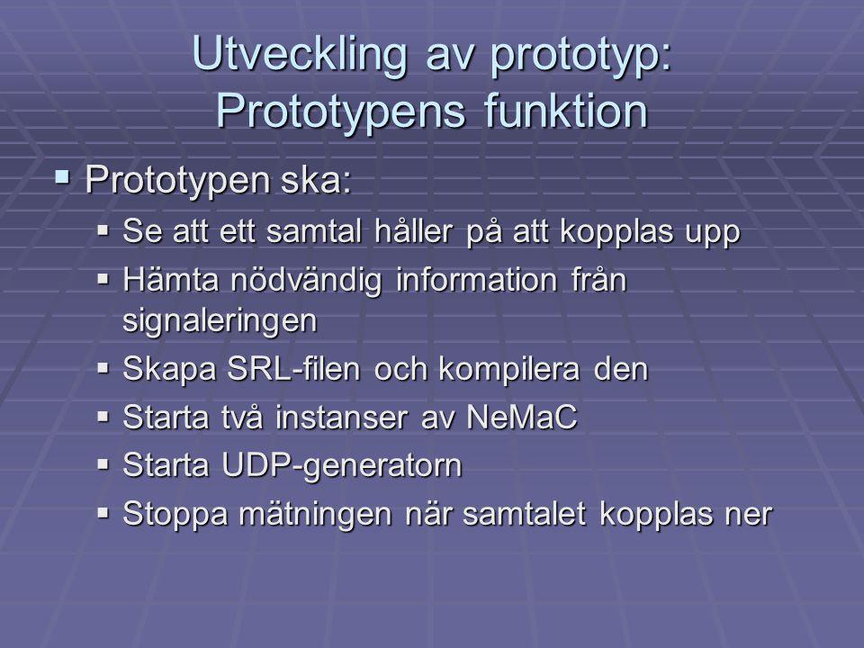 Utveckling av prototyp: Prototypens funktion
