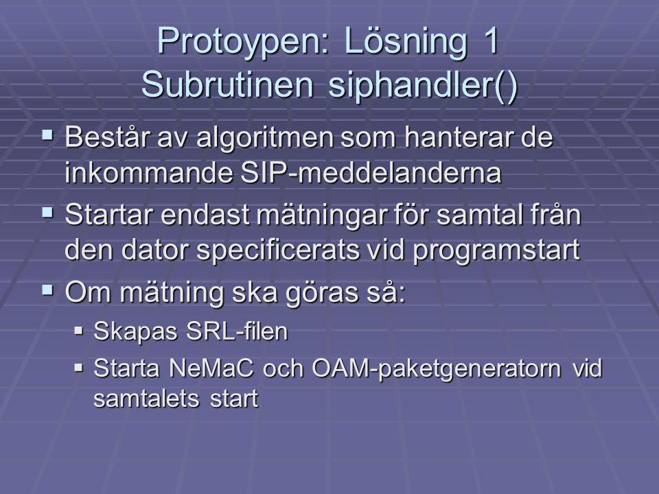 Protoypen: Lösning 1 Subrutinen siphandler()
