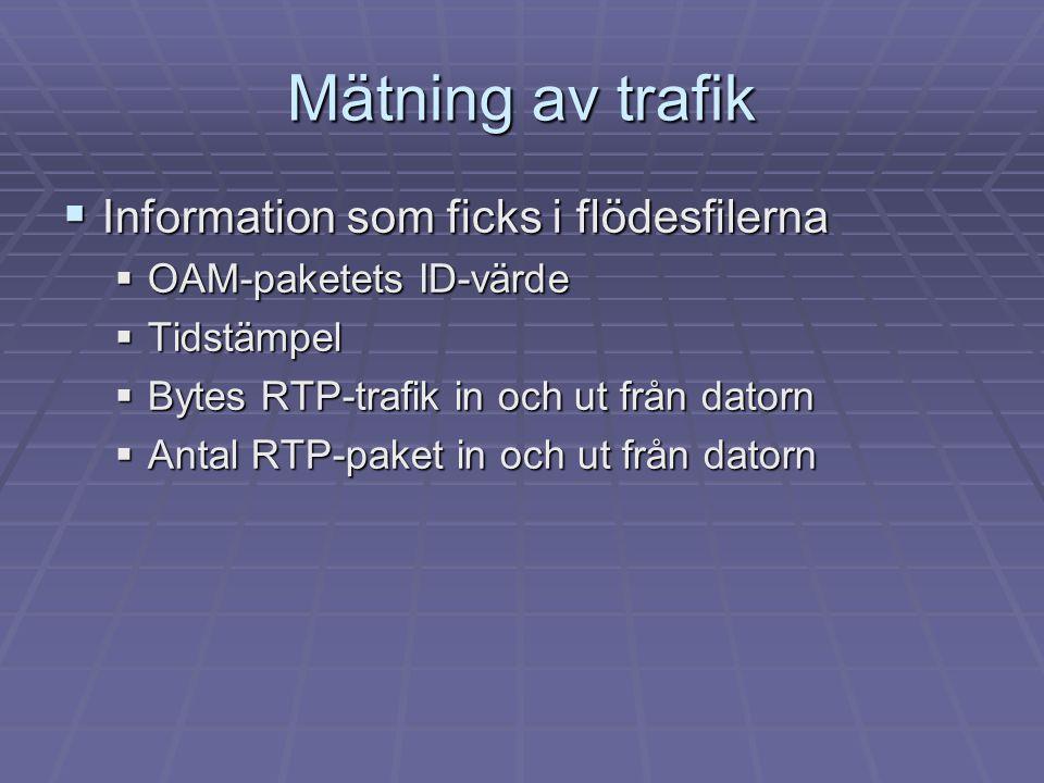 Mätning av trafik Information som ficks i flödesfilerna