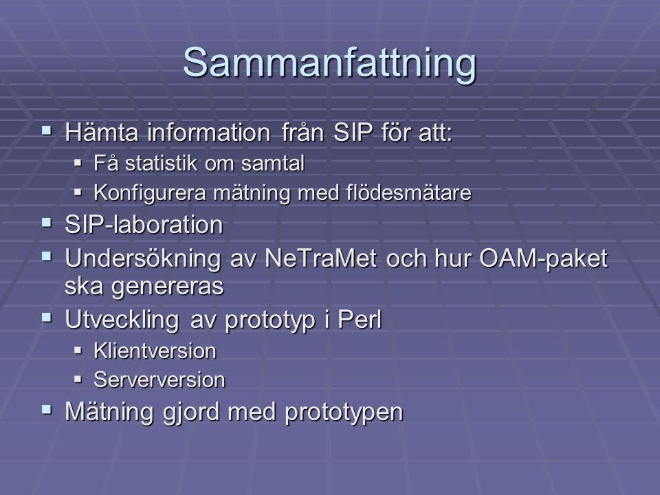 Sammanfattning Hämta information från SIP för att: SIP-laboration