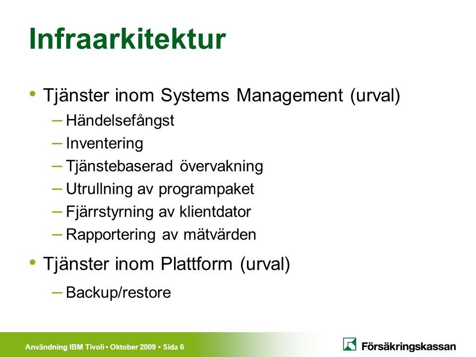 Infraarkitektur Tjänster inom Systems Management (urval)