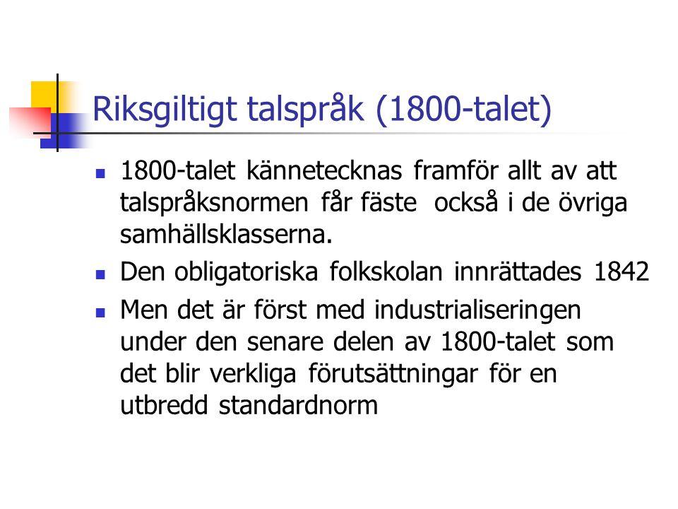 Riksgiltigt talspråk (1800-talet)