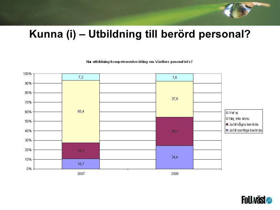 Kunna (i) – Utbildning till berörd personal