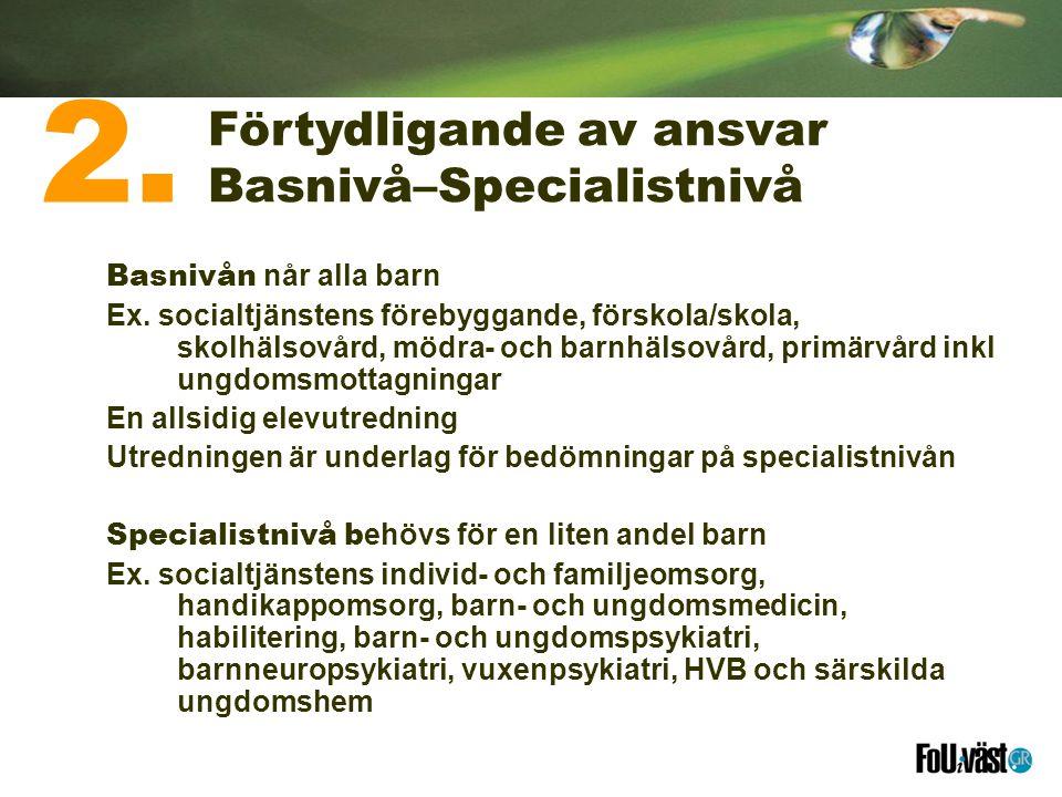 2. Förtydligande av ansvar Basnivå–Specialistnivå