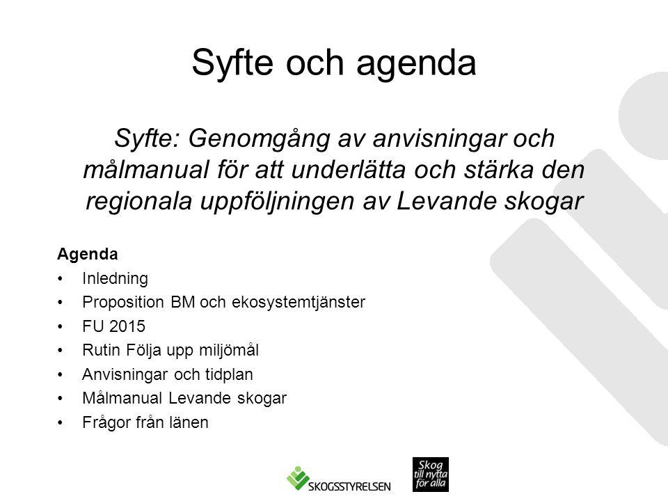 Syfte och agenda Syfte: Genomgång av anvisningar och målmanual för att underlätta och stärka den regionala uppföljningen av Levande skogar.