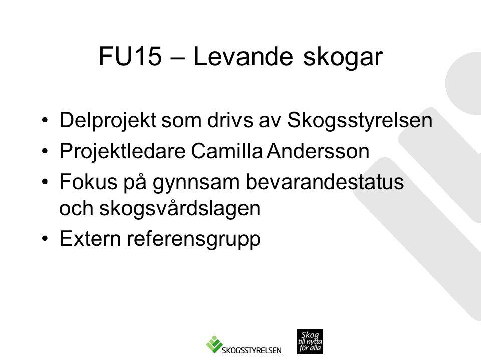 FU15 – Levande skogar Delprojekt som drivs av Skogsstyrelsen
