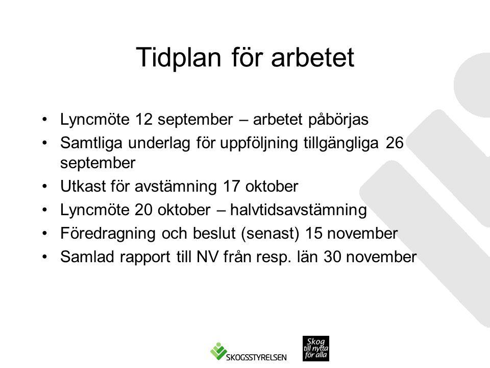Tidplan för arbetet Lyncmöte 12 september – arbetet påbörjas