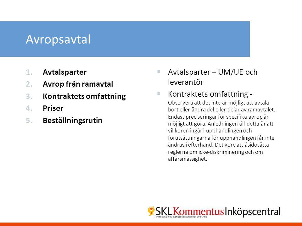 Avropsavtal Avtalsparter Avrop från ramavtal Kontraktets omfattning