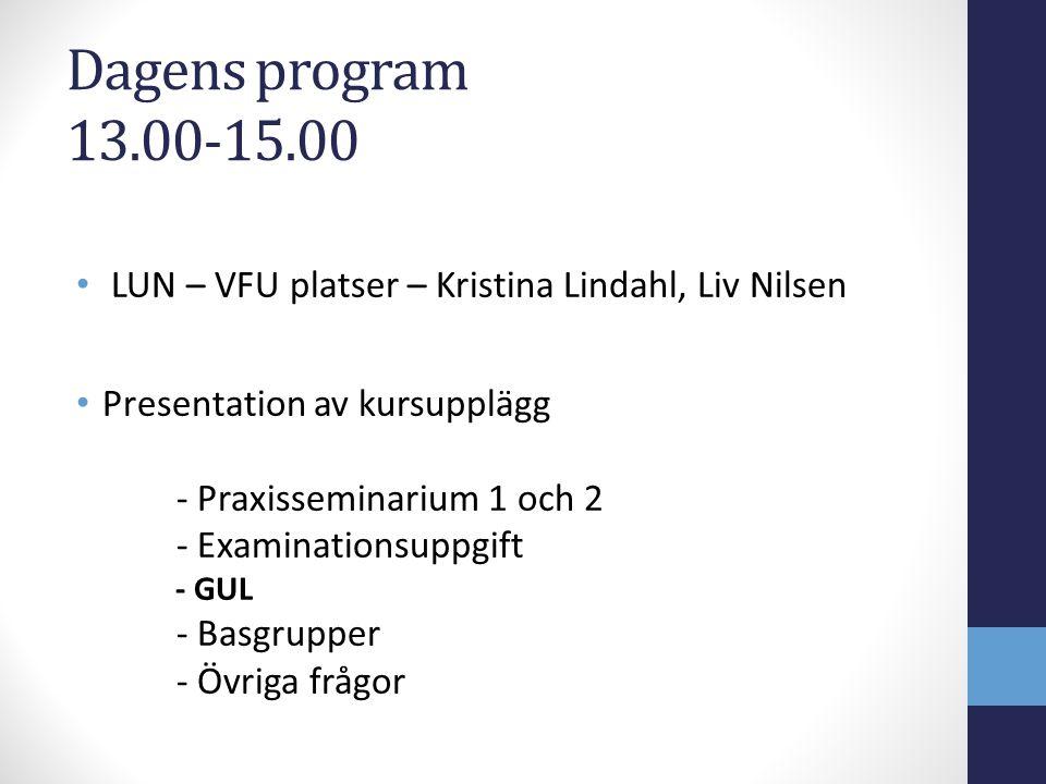 Dagens program 13.00-15.00 LUN – VFU platser – Kristina Lindahl, Liv Nilsen. Presentation av kursupplägg.