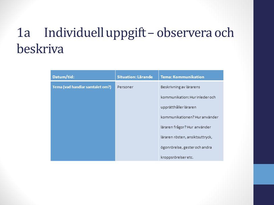 1a Individuell uppgift – observera och beskriva