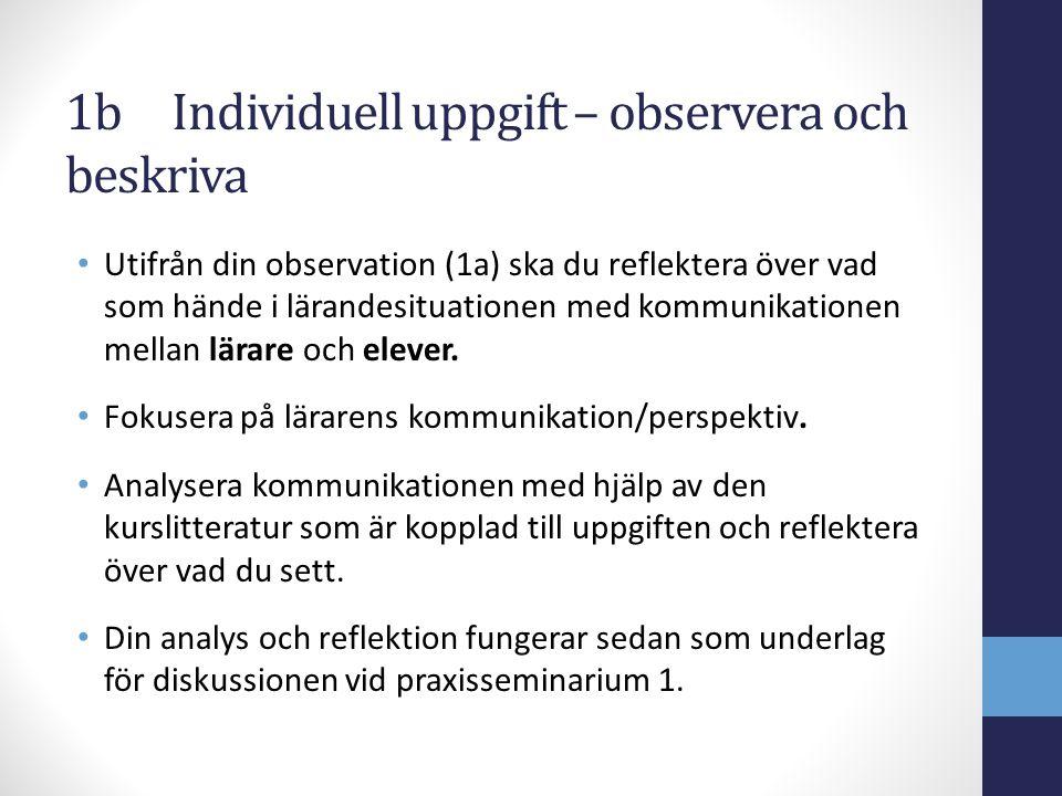 1b Individuell uppgift – observera och beskriva