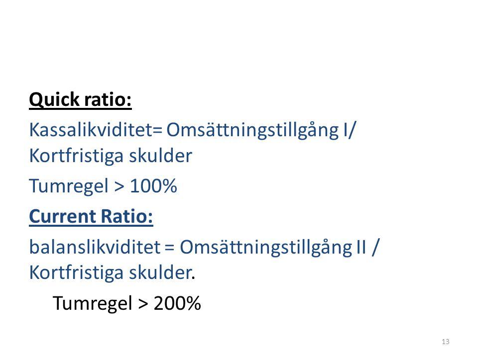 Quick ratio: Kassalikviditet= Omsättningstillgång I/ Kortfristiga skulder. Tumregel > 100% Current Ratio: