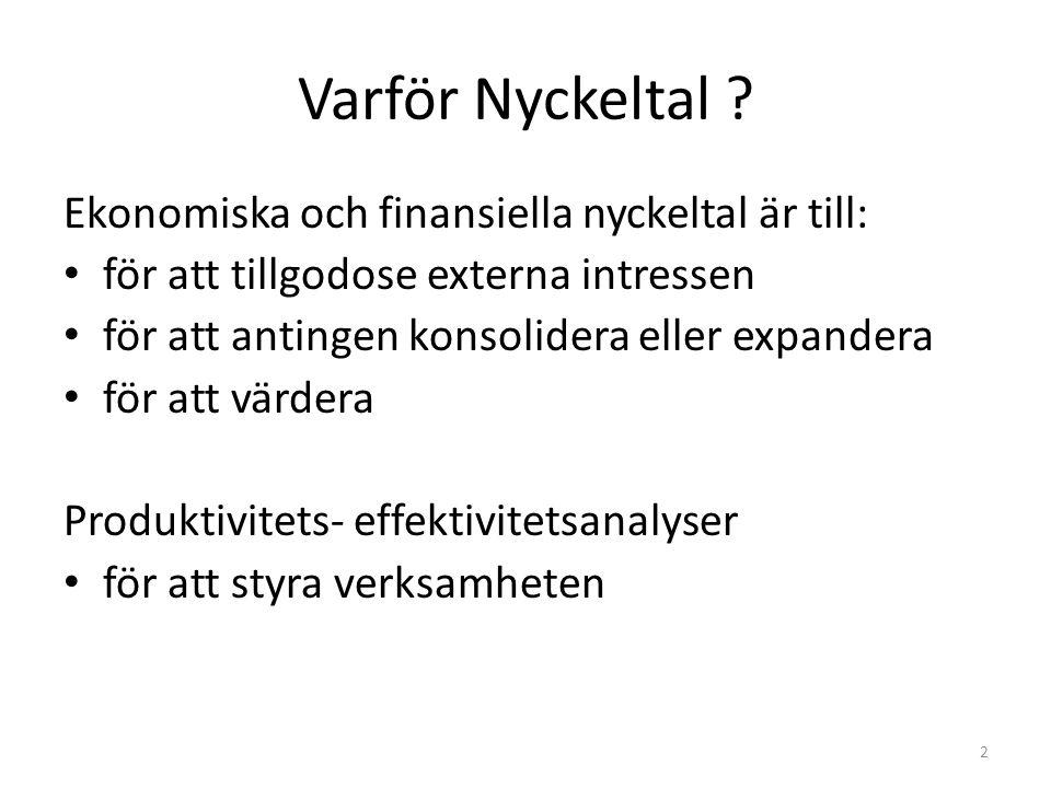 Varför Nyckeltal Ekonomiska och finansiella nyckeltal är till: