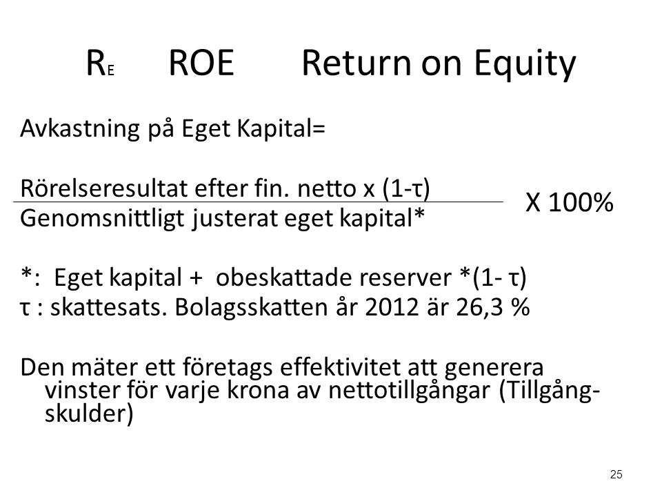 RE ROE Return on Equity X 100%