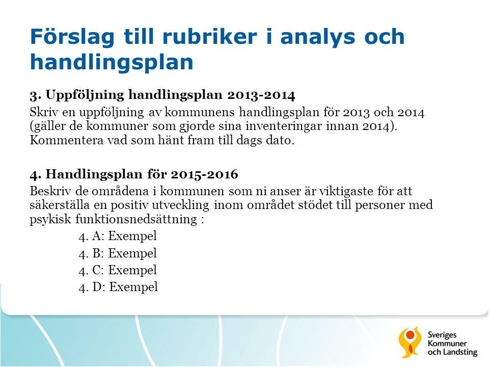 Förslag till rubriker i analys och handlingsplan