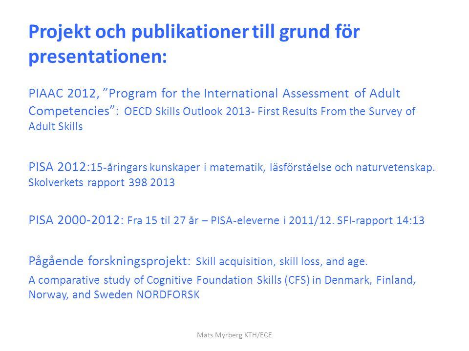 Projekt och publikationer till grund för presentationen: